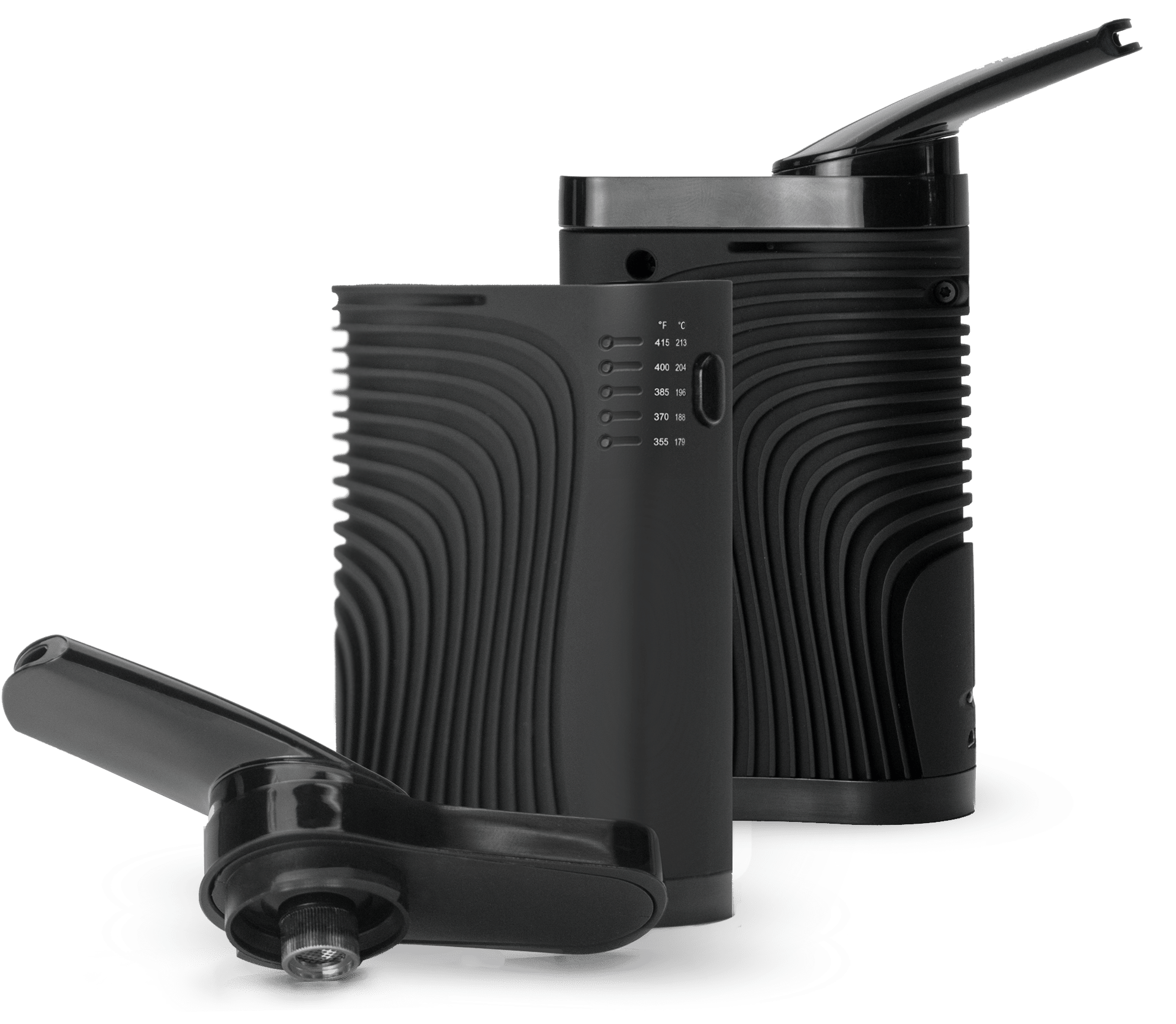 Two Standing Tera Vaporizers with One's Mouthpiece Removed and no Background