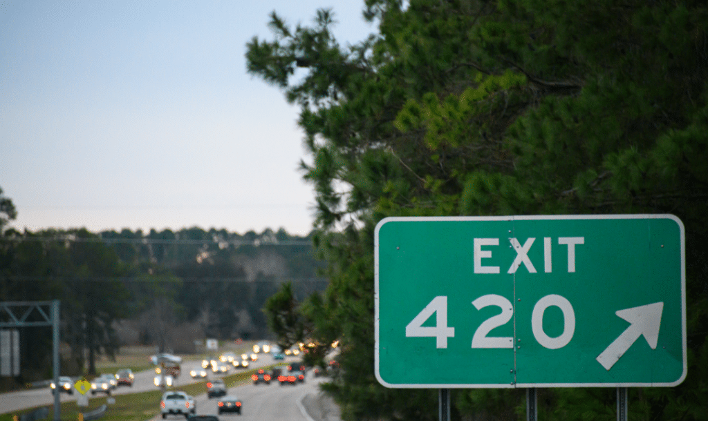 Highway sign for Exit 420.