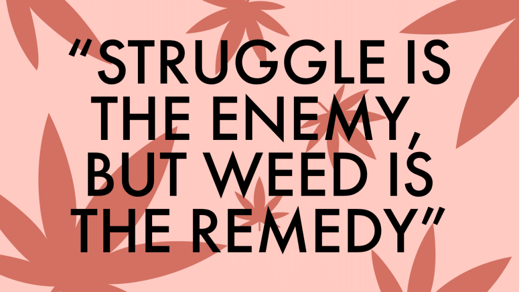 """""""Struggle is the enemy, but weed is the remedy."""""""