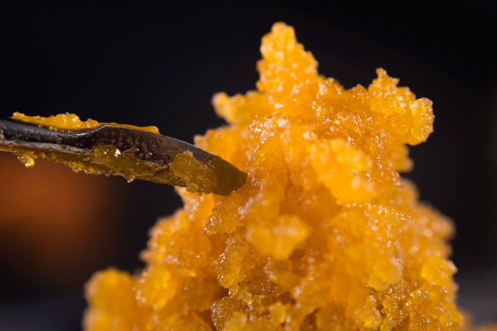 A dab tool being dipped into a pile of waxy concentrate.