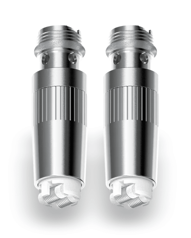 Close-up of Two Terp Pen Ceramic Coils with a White Background